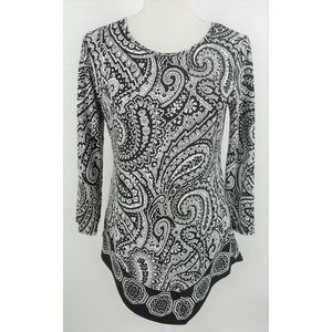 Coco Bianco paisley textured black white tunic top